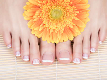 爪に白いフランス ペディキュアと女性の足のクローズ アップ写真。スパのサロン。足ケアのコンセプト