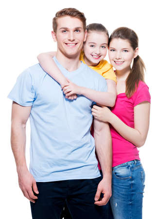 aucasian: Portrait of the happy european family with child - isolated on white background.