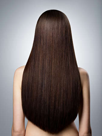 Posteriore Ritratto di donna con lunghi capelli lisci castani nello studio Archivio Fotografico - 65812523
