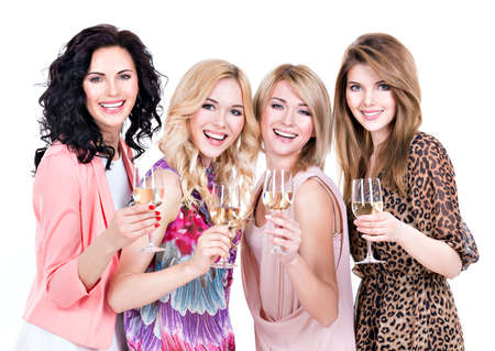 Portrait of group young beautiful women have party and drinking wine - isolated on white. photo