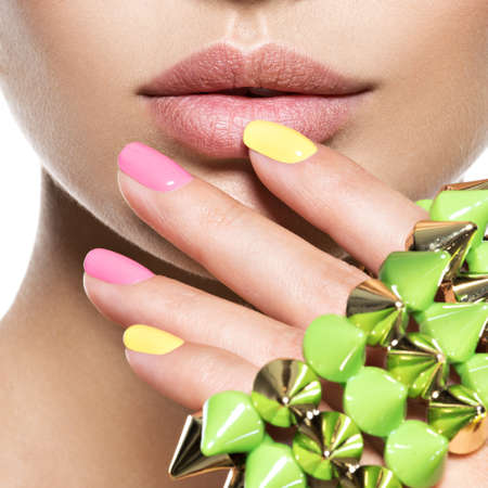 1 person: fashion woman with beautiful nails and jewelry Stock Photo