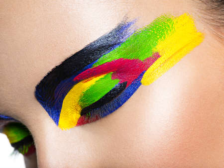 Womans eye with vivid colors makeup. Macro image LANG_EVOIMAGES