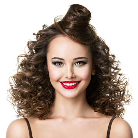 Beautiful woman with creative fashion hairstyle. Attractive  girl with smile