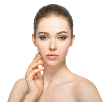 only 1 woman: Young  woman with beautiful face and clean fresh skin. Skin care concept.  Beauty treatment.