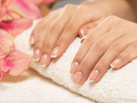 Woman gets manicure procedure in a spa salon. Beautiful female hands. Hand care. Woman cares for the nails on hands. Beauty treatment with skin of hand.   Womans hands close-up view.