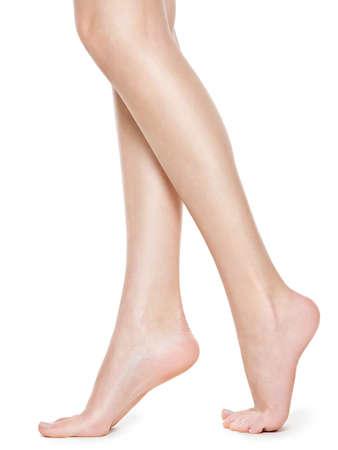 Beautiful long women legs after depilation Standard-Bild - 129140023