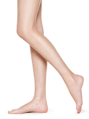 Beautiful long women legs after depilation Standard-Bild - 129140384