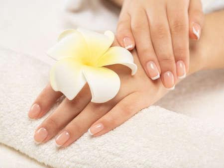 Une femme reçoit une procédure de manucure dans un salon de spa. Belles mains féminines. Soins des mains. La femme prend soin des ongles sur les mains. Traitement de beauté avec la peau de la main. Vue rapprochée des mains de la femme.