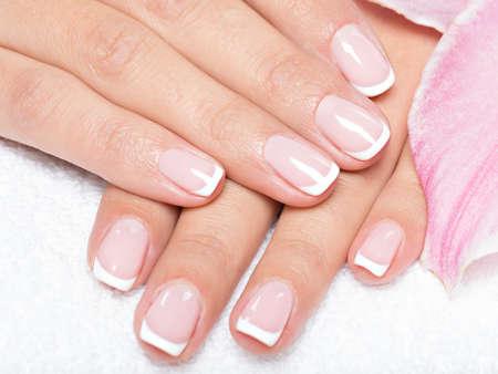 Beautiful woman's nails with french manicure Zdjęcie Seryjne