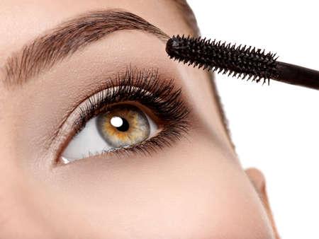 Macro shot of a women eye with long black eyelashes and makeup brush  -  studio photo 写真素材