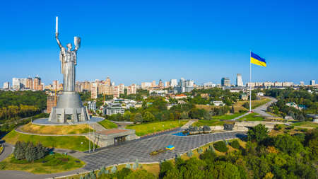 Aerial view to the  Beautiful landscape city Kiev. Top view to the Motherland statue in the Kiev. The well-known landmarks in Kyiv. Historical monument of Soviet union. Reklamní fotografie