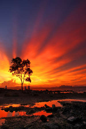 rai lay: Sunset Krabi Stock Photo
