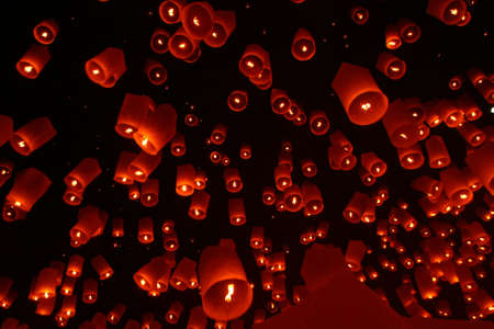 Het papier lantaarn, Yi Peng, beroemde festival, Chiangmai, Thailand