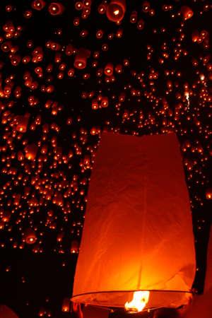 The paper lantern, Yi Peng, Famous festival, Chiangmai, Thailand