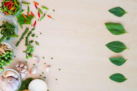 thai basil: Flat lay Thai basil or thyme leaf order with herbal on wood background