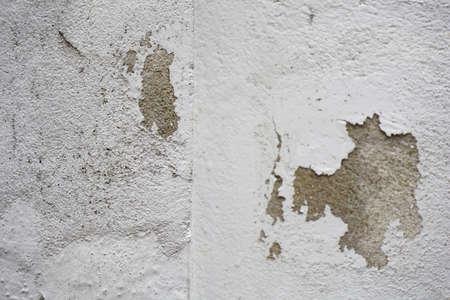 Cracked concrete white horizontal wall background Stockfoto