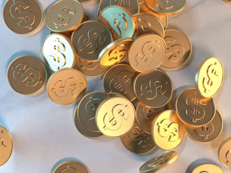 3d rendering gold coin dollar symbol business economy concept Banco de Imagens