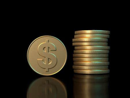 3d rendering gold coin dollar symbol black background  business economy concept Banco de Imagens