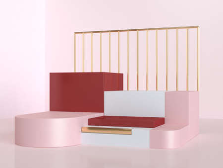 abstract pink red steps podium scene 3d rendering
