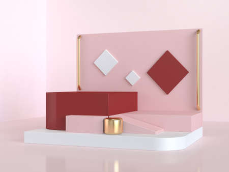 3d rendering red pink geometric abstract scene