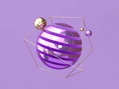 3d rendering levitation purple background metallic abstract shape