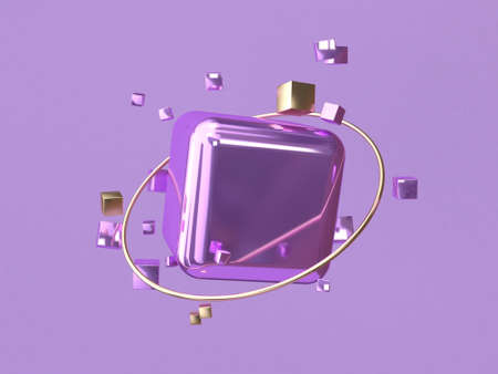 square/cube purple metallic 3d rendering abstract background Reklamní fotografie