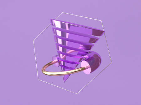 abstract shape 3d rendering levitation purple background metallic Reklamní fotografie