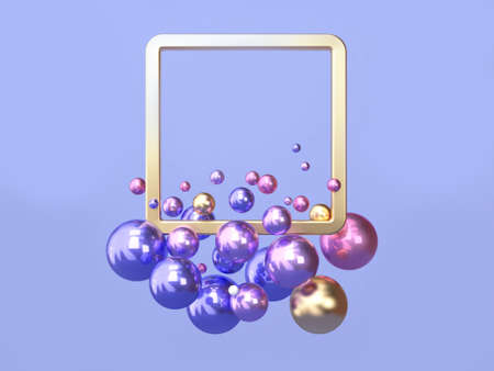3d rendering pink blue/purple gold geometric shape floating square frame