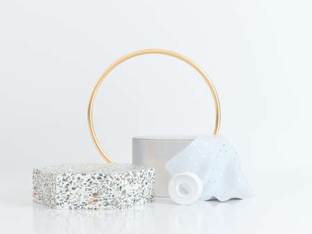 cercle or blanc scène forme géométrique rendu 3d marbre or clair Banque d'images