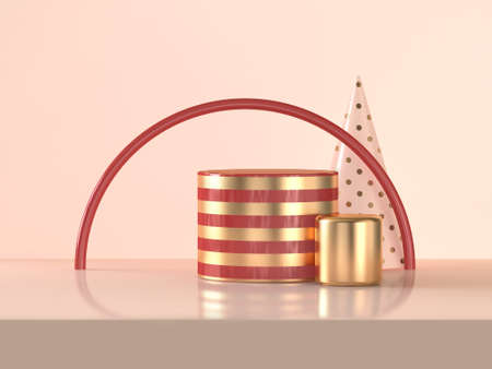 Semicircle red gold cylinder abstract 3d rendering scene celebrations Christmas holiday concept