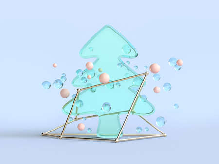 abstract clear material 3d rendering christmas tree green blue 免版税图像