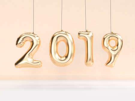 2019 balloon text/number gold hanging 3d rendering Banque d'images