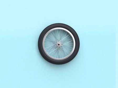 3D-Rendering blaue flache Lay-Szene Fahrradrad