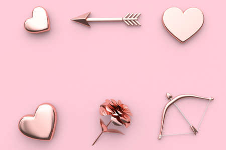 pink background valentine concept 3d rendering abstract metallic heart flower bow and arrow
