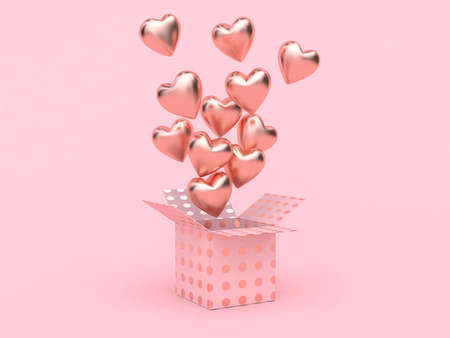 gift box open balloon heart floating pink background love valentine concept 3d rendering 写真素材 - 120152086