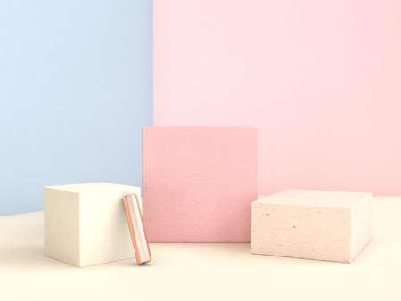 mur rose bleu forme géométrique ensemble scène abstraite rendu 3d