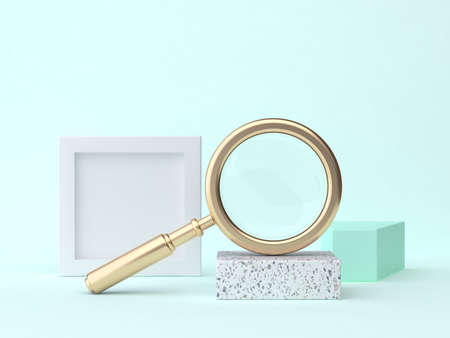 3d rendering gold magnifying glass abstract blue-green geometric scene