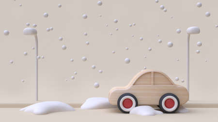 abstract car wood toy cartoon style winter snow new year concept on road with snow cream minimal background