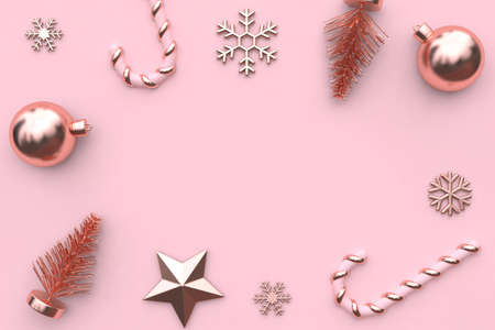 3d rendering abstract christmas background pink metallic glossy-rose gold tree star snow candy minimal pink background christmas holiday new year concept