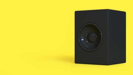 3d rendering abstract black loudspeaker minimal yellow background Stock Photo