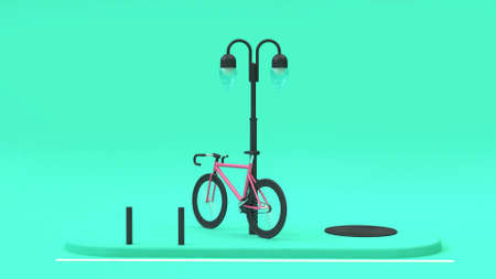 pink street foot path lamp 3d rendering,going transportation city concept Foto de archivo - 120153354
