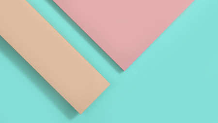 pink top and brown left on green space minimal geometric background 3d rendering