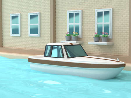 3d white brown boat canal-river blue water wall-windows house of town-city cartoon style 3d rendering,nature travel transportation Venice Italy concept