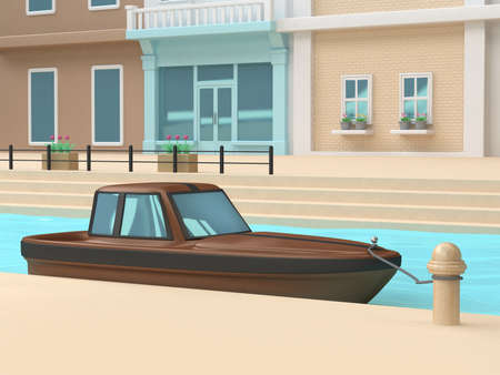 3d brown black boat port canal-river blue water wall-windows house of town-city cartoon style 3d rendering,nature travel transportation Venice Italy concept Stock fotó