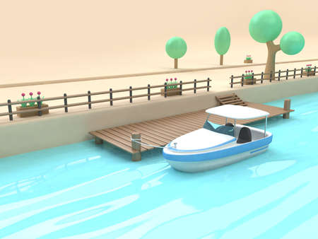 3d white blue speed boat cartoon style port-bridge wood blue water reflection 3d rendering,nature transportation travel concept Stock fotó