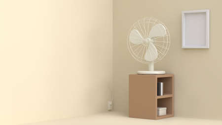 3d white fan on wood cabinet wit blank frame wall 3d rendering cream room Reklamní fotografie