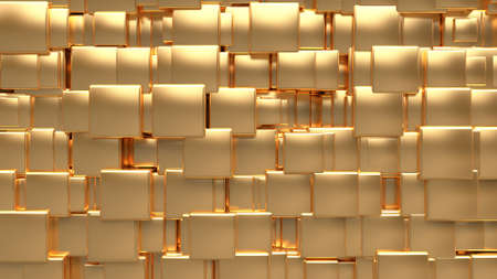 metallic gold cubic random size-position 3d rendering abstract background Фото со стока