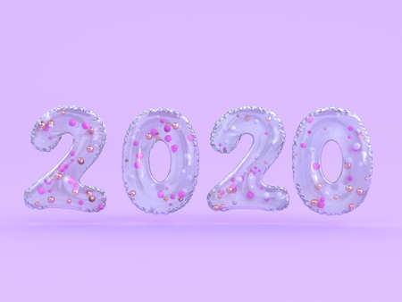 violet/purple scene 2020 abstract type/text number 3d rendering