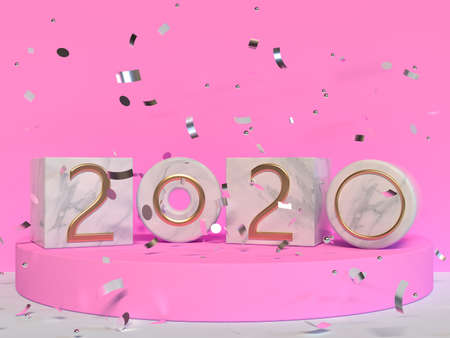 2020 type/text number pink wall scene 3d rendering