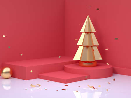 gold tree red scene wall floor corner abstract minimal christmas holiday new year concept 3d rendering